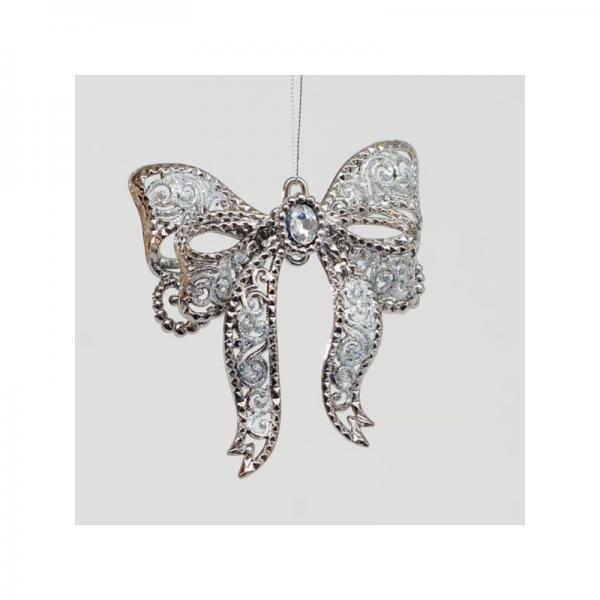 YMU13890 12cm Bow w silver Gem