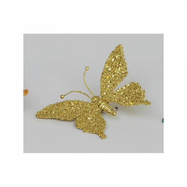 YMU22354 18cm Butterfly with Clip Gold