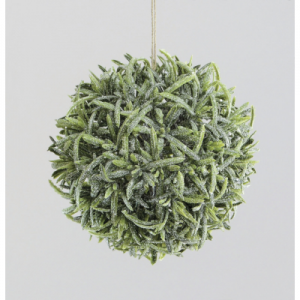 14cm frosted pine ball hanger at beechmount garden centre