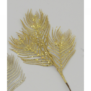 46cm glitter peacock leaf gold 56454 at beechmount garden centre