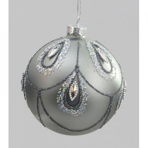 80mm glitter bead ball pewter 04280 at beechmount garden centre