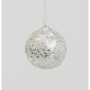 80mm glitter star ball silver 11990 at beechmount garden centre