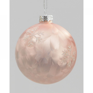 80mm ice snowflake ball dec pink 03818 at beechmount garden centre