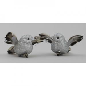 9cm flying bird x2 w clip silver 17290 at beechmount garden centre
