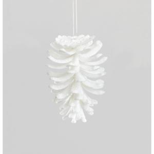 12cm hanging pine cone white 66510 at beechmount garden centre