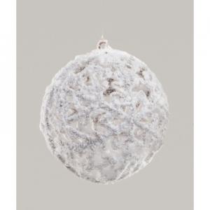 150mm flocked ball decoration white 45610 at beechmount garden centre