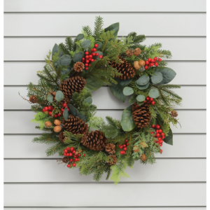 24in natural cone berry wreath at beechmount garden centre
