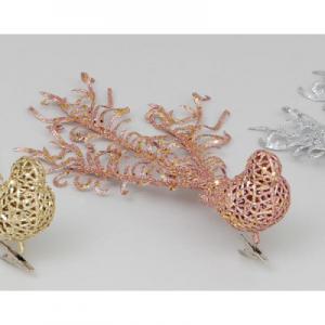 32cm glitter bird clip rose gold at beechmount garden centre