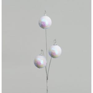 72cm sequin ball x 3 spray white 72910 at beechmount garden centre