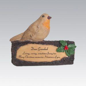 robin on log grandad grave ornament at beechmount garden centre