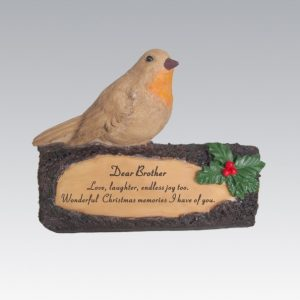 robin on log brother grave ornament at beechmount garden centre