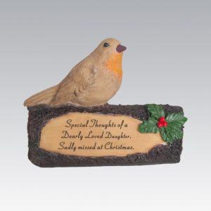 robin on log daughter grave ornament at beechmount garden centre