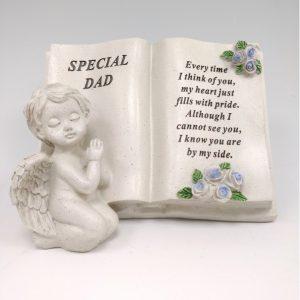cherub memorial book dad grave ornament at beechmount garden centre