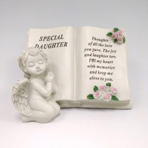 cherub memorial book daughter grave ornament at beechmount garden centre