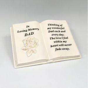 memorial book dad grave ornament at beechmount garden centre