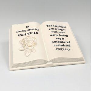 memorial book grandad grave ornament at beechmount garden centre