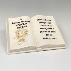 memorial book sister grave ornament at beechmount garden centre