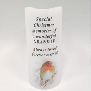 Candle Grandad grave ornament at beechmount garden centre