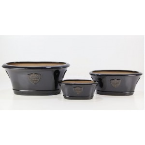 botanic oval planter black ceramic pot AT BEECHMOUNT GARDEN CENTRE