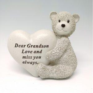 grandson bear heart at grave ornament beechmount garden centre