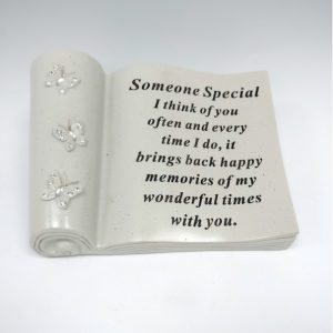 someone special butterfly scroll grave ornament at beechmount garden centre