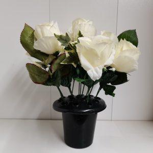 artificial flower white grave at beechmount garden centre