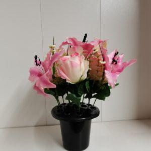 artificial flowers pink at beechmount garden centre