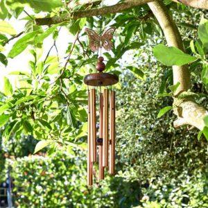 bronze butterfly windchime at beechmount garden centre